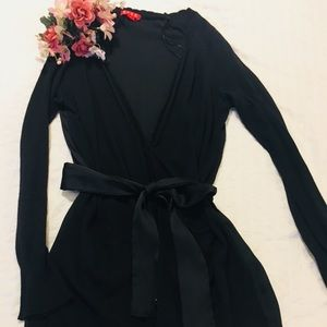 Black satin +cotton cardigan with belt